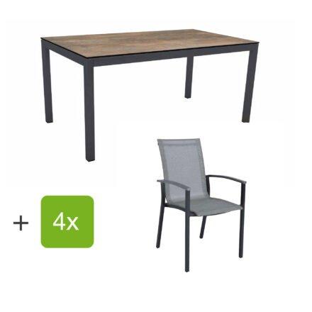 """Stern Gartenmöbel-Set """"Evoee"""", Gestelle Aluminium anthrazit, Sitzfläche Textilgewebe silberfarben, Tischplatte HPL Ferro"""