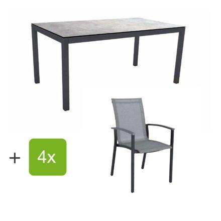 """Stern Gartenmöbel-Set """"Evoee"""", Gestelle Aluminium anthrazit, Sitzfläche Textilgewebe silberfarben, Tischplatte HPL Metallic Grau"""