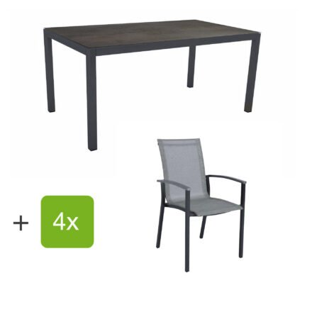 """Stern Gartenmöbel-Set """"Evoee"""", Gestelle Aluminium anthrazit, Sitzfläche Textilgewebe silberfarben, Tischplatte HPL Nitro"""