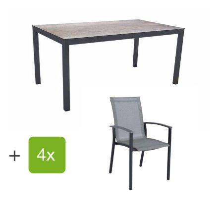 """Stern Gartenmöbel-Set """"Evoee"""", Gestelle Aluminium anthrazit, Sitzfläche Textilgewebe silberfarben, Tischplatte HPL Smoky"""