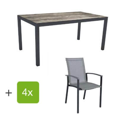 """Stern Gartenmöbel-Set """"Evoee"""", Gestelle Aluminium anthrazit, Sitzfläche Textilgewebe silberfarben, Tischplatte HPL Tundra Grau"""