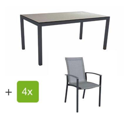 """Stern Gartenmöbel-Set """"Evoee"""", Gestelle Aluminium anthrazit, Sitzfläche Textilgewebe silberfarben, Tischplatte HPL Uni Grau"""