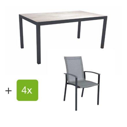 "Stern Gartenmöbel-Set ""Evoee"", Gestelle Aluminium anthrazit, Sitzfläche Textilgewebe silberfarben, Tischplatte HPL Zement Hell"