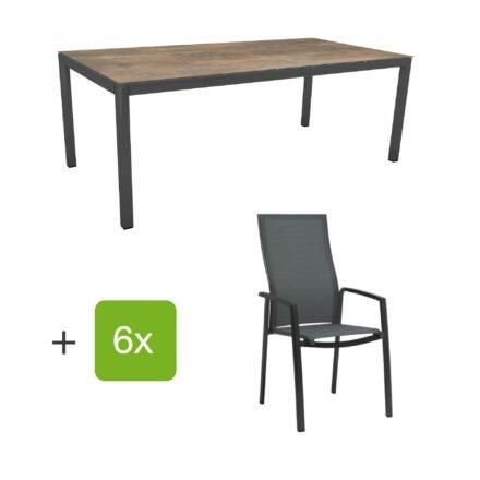 """Stern Gartenmöbel-Set mit Hochlehner """"Kari"""", Textilen karbon und Gartentisch 200x100 cm, Gestelle Alu anthrazit, Tischplatte HPL ferro"""
