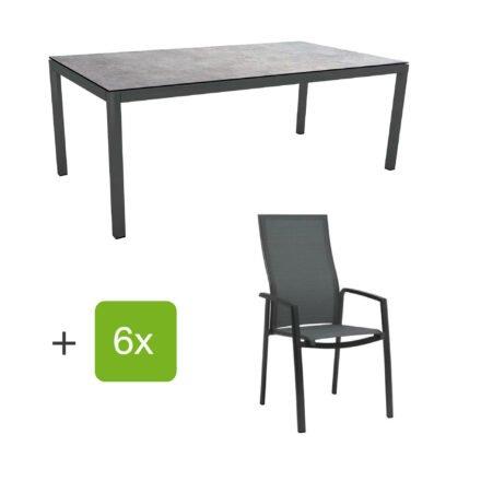 """Stern Gartenmöbel-Set mit Hochlehner """"Kari"""", Textilen karbon und Gartentisch 200x100 cm, Gestelle Alu anthrazit, Tischplatte HPL metallic grau"""