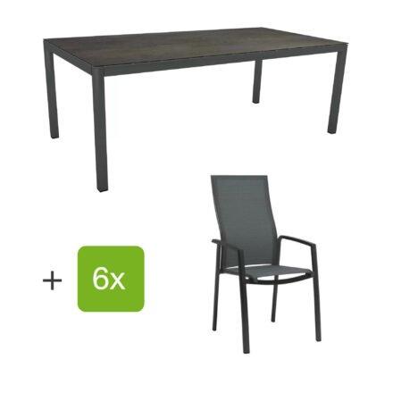 """Stern Gartenmöbel-Set mit Hochlehner """"Kari"""", Textilen karbon und Gartentisch 200x100 cm, Gestelle Alu anthrazit, Tischplatte HPL nitro"""