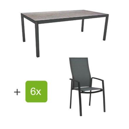 """Stern Gartenmöbel-Set mit Hochlehner """"Kari"""", Textilen karbon und Gartentisch 200x100 cm, Gestelle Alu anthrazit, Tischplatte HPL smoky"""
