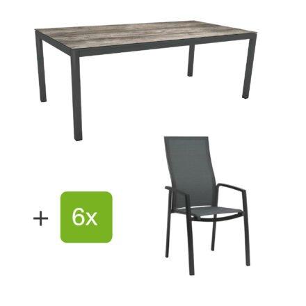 """Stern Gartenmöbel-Set mit Hochlehner """"Kari"""", Textilen karbon und Gartentisch 200x100 cm, Gestelle Alu anthrazit, Tischplatte HPL tundra grau"""