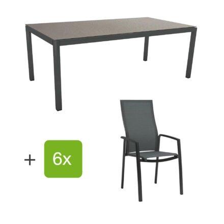 """Stern Gartenmöbel-Set mit Hochlehner """"Kari"""", Textilen karbon und Gartentisch 200x100 cm, Gestelle Alu anthrazit, Tischplatte HPL uni grau"""