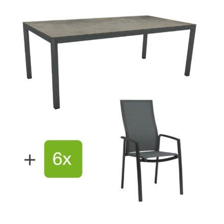 """Stern Gartenmöbel-Set mit Hochlehner """"Kari"""", Textilen karbon und Gartentisch 200x100 cm, Gestelle Alu anthrazit, Tischplatte HPL zement"""