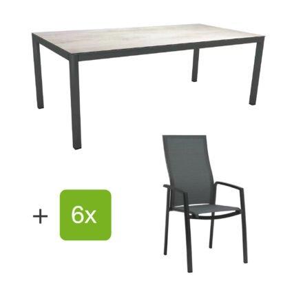 """Stern Gartenmöbel-Set mit Hochlehner """"Kari"""", Textilen karbon und Gartentisch 200x100 cm, Gestelle Alu anthrazit, Tischplatte HPL zement hell"""