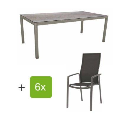 """Stern Gartenmöbel-Set mit Hochlehner """"Kari"""", Textilen silbergrau und Gartentisch 200x100 cm, Gestelle Alu graphit, Tischplatte HPL smoky"""