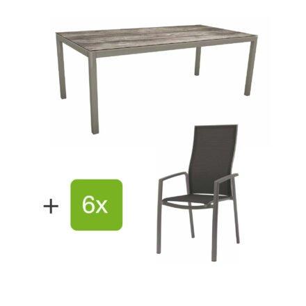 """Stern Gartenmöbel-Set mit Hochlehner """"Kari"""", Textilen silbergrau und Gartentisch 200x100 cm, Gestelle Alu graphit, Tischplatte HPL tundra grau"""