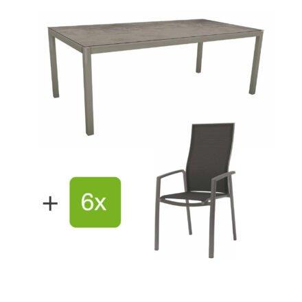 """Stern Gartenmöbel-Set mit Hochlehner """"Kari"""", Textilen silbergrau und Gartentisch 200x100 cm, Gestelle Alu graphit, Tischplatte HPL zement"""