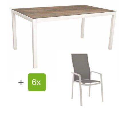 """Stern Gartenmöbel-Set mit Hochlehner """"Kari"""", Textilen silber und Gartentisch 200x100 cm, Gestelle Alu weiß, Tischplatte HPL ferro"""