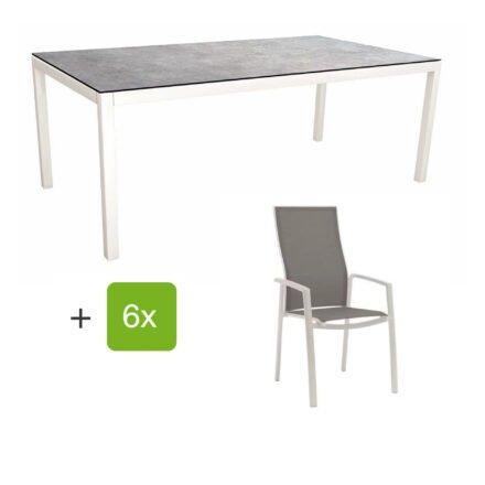 """Stern Gartenmöbel-Set mit Hochlehner """"Kari"""", Textilen silber und Gartentisch 200x100 cm, Gestelle Alu weiß, Tischplatte HPL metallic grau"""