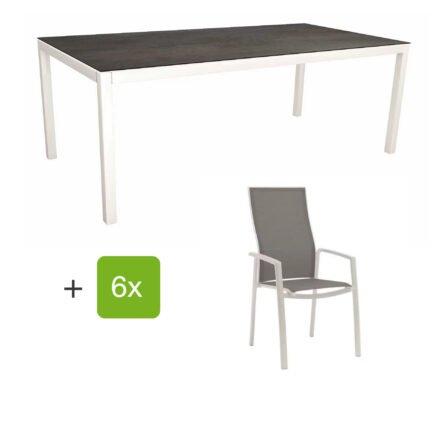 """Stern Gartenmöbel-Set mit Hochlehner """"Kari"""", Textilen silber und Gartentisch 200x100 cm, Gestelle Alu weiß, Tischplatte HPL nitro"""