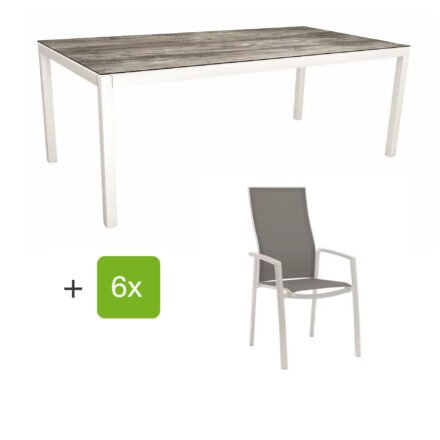 """Stern Gartenmöbel-Set mit Hochlehner """"Kari"""", Textilen silber und Gartentisch 200x100 cm, Gestelle Alu weiß, Tischplatte HPL tundra grau"""