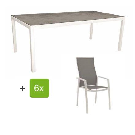 """Stern Gartenmöbel-Set mit Hochlehner """"Kari"""", Textilen silber und Gartentisch 200x100 cm, Gestelle Alu weiß, Tischplatte HPL zement"""