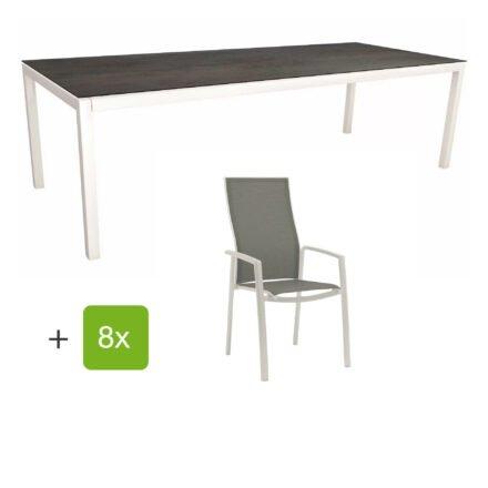 """Stern Gartenmöbel-Set mit Hochlehner """"Kari"""", Textilen silber und Gartentisch 250x100 cm, Gestelle Alu weiß, Tischplatte HPL nitro"""