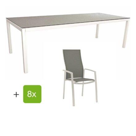 """Stern Gartenmöbel-Set mit Hochlehner """"Kari"""", Textilen silber und Gartentisch 250x100 cm, Gestelle Alu weiß, Tischplatte HPL uni grau"""