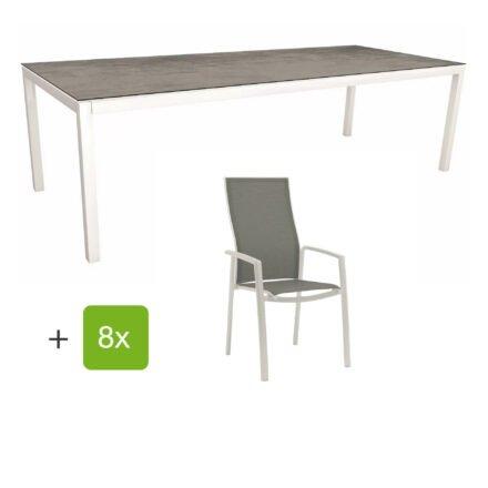 """Stern Gartenmöbel-Set mit Hochlehner """"Kari"""", Textilen silber und Gartentisch 250x100 cm, Gestelle Alu weiß, Tischplatte HPL zement"""