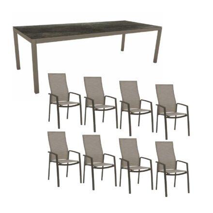 """Stern Gartenmöbel-Set mit Hochlehner """"Kari"""", Textilen kaschmir und Gartentisch 250x100 cm, Gestelle Alu taupe"""