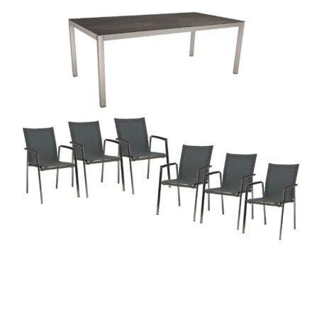 """Stern Gartenmöbel-Set mit Stuhl """"New Top"""", Textilgewebe karbon und Tisch 200x100cm, Gestelle Edelstahl, Tischplatte HPL nitro"""