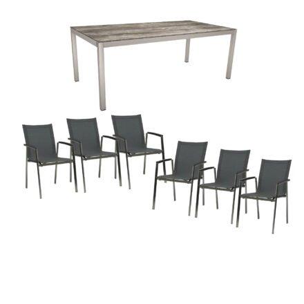 """Stern Gartenmöbel-Set mit Stuhl """"New Top"""", Textilgewebe karbon und Tisch 200x100cm, Gestelle Edelstahl, Tischplatte HPL tundra grau"""