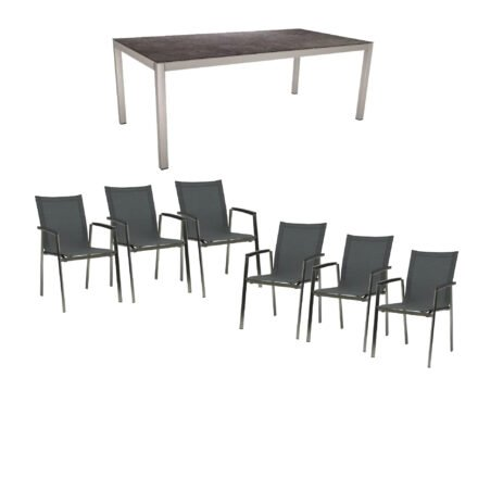 """Stern Gartenmöbel-Set mit Stuhl """"New Top"""", Textilgewebe karbon und Tisch 200x100cm, Gestelle Edelstahl, Tischplatte HPL vintage grau"""