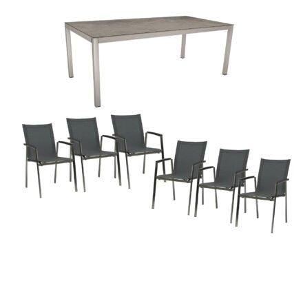 """Stern Gartenmöbel-Set mit Stuhl """"New Top"""", Textilgewebe karbon und Tisch 200x100cm, Gestelle Edelstahl, Tischplatte HPL zement"""