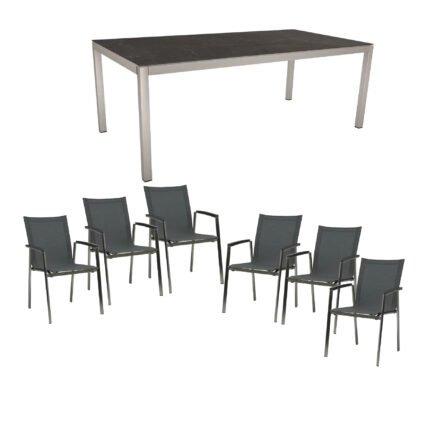 """Stern Gartenmöbel-Set mit Stuhl """"New Top"""", Textilgewebe karbon und Tisch 200x100cm, Gestelle Edelstahl, Tischplatte Dekton lava anthrazit"""