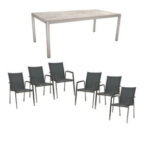 """Stern Gartenmöbel-Set mit Stuhl """"New Top"""", Textilgewebe karbon und Tisch 200x100cm, Gestelle Edelstahl, Tischplatte Dekton lava hellgrau"""