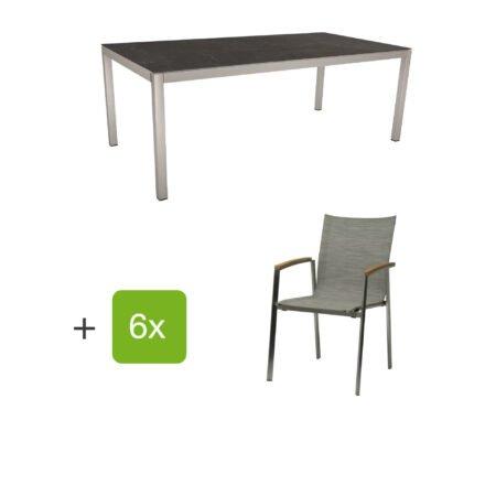 """Stern Gartenmöbel-Set mit Stuhl """"New Top"""", Textilgewebe kaschmir und Tisch 200x100cm, Gestelle Edelstahl, Tischplatte Dekton lava anthrazit"""