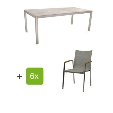 """Stern Gartenmöbel-Set mit Stuhl """"New Top"""", Textilgewebe kaschmir und Tisch 200x100cm, Gestelle Edelstahl, Tischplatte Dekton lava hellgrau"""