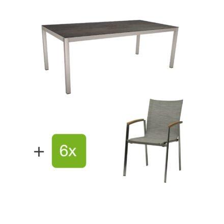 """Stern Gartenmöbel-Set mit Stuhl """"New Top"""", Textilgewebe kaschmir und Tisch 200x100cm, Gestelle Edelstahl, Tischplatte HPL nitro"""