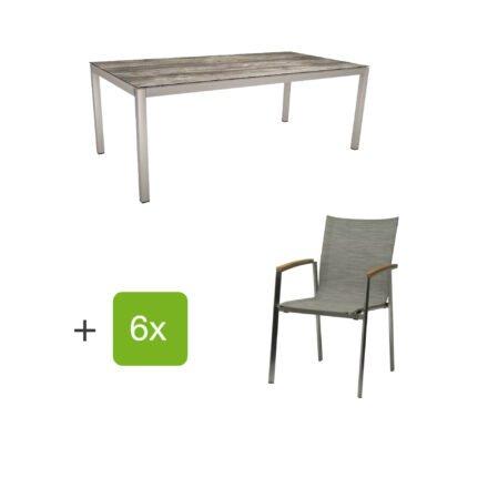 """Stern Gartenmöbel-Set mit Stuhl """"New Top"""", Textilgewebe kaschmir und Tisch 200x100cm, Gestelle Edelstahl, Tischplatte HPL tundra grau"""