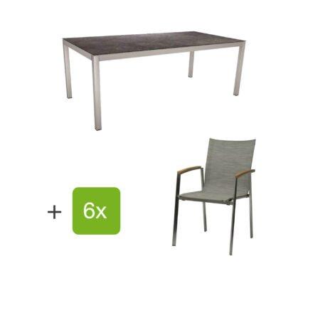"""Stern Gartenmöbel-Set mit Stuhl """"New Top"""", Textilgewebe kaschmir und Tisch 200x100cm, Gestelle Edelstahl, Tischplatte HPL vintage grau"""