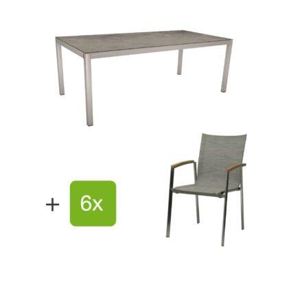 """Stern Gartenmöbel-Set mit Stuhl """"New Top"""", Textilgewebe kaschmir und Tisch 200x100cm, Gestelle Edelstahl, Tischplatte HPL zement"""