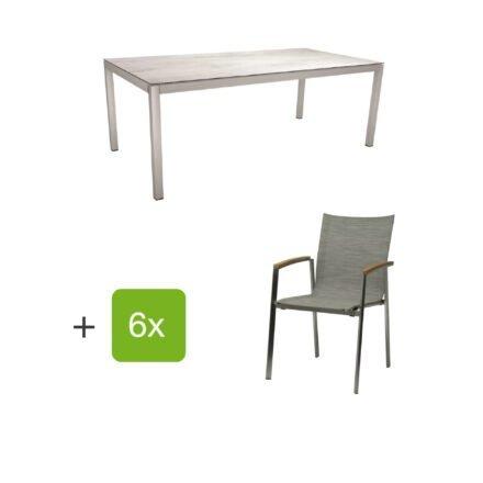 "Stern Gartenmöbel-Set mit Stuhl ""New Top"", Textilgewebe kaschmir und Tisch 200x100cm, Gestelle Edelstahl, Tischplatte HPL zement hell"
