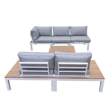 """Home Islands """"Laos modular"""" Loungegruppe, Gestelle Aluminium weiß, Polster hellgrau, Ablagen Polywood"""