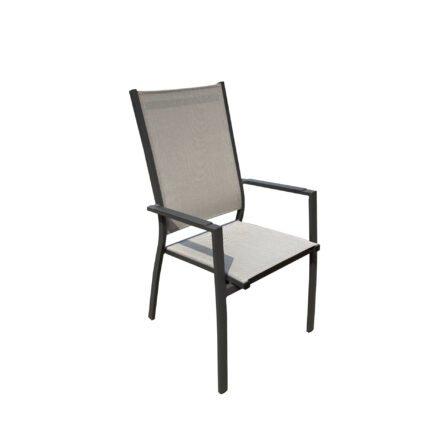 "Home Islands Hochlehner ""Yuri"", Gestell Aluminium charcoal (anthrazit), Sitz- und Rückenfläche Textilen silver black, Armlehnen Aluminium"