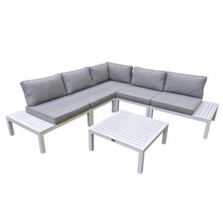 """Home Islands """"Laos modular"""" Loungegruppe, Gestelle Aluminium weiß, Polster hellgrau, Ablagen Aluminium"""