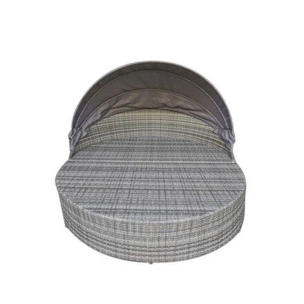 """Home Islands """"Taipeh"""" XL-Sonneninsel, Gestell Aluminium, Geflecht bicolor, Bezüge hellgrau"""