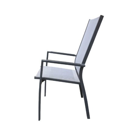 "Home Islands ""Yuri"" Hochlehner, Gestell Aluminium charcoal (anthrazit), Sitz- und Rückenfläche Textilen silver black, Armlehnen Aluminium"