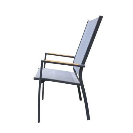 "Home Islands ""Yuri"" Hochlehner, Gestell Aluminium charcoal (anthrazit), Sitz- und Rückenfläche Textilen silver black, Armlehnen Teakholz"