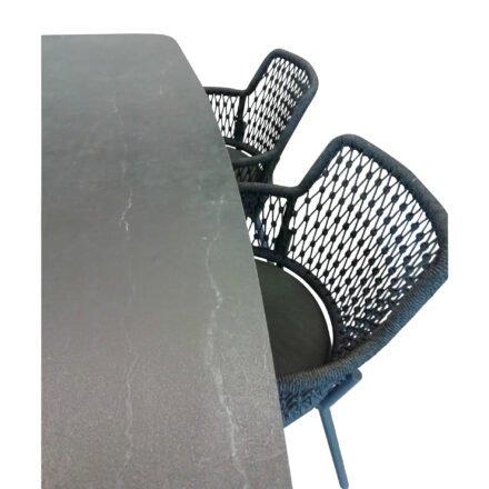 "Set mit Musterring Sessel ""London"", Alu anthrazit/Rope grau, SIT Mobilia Tisch ""Jura-Delemont"", Platte Dekton Laos"