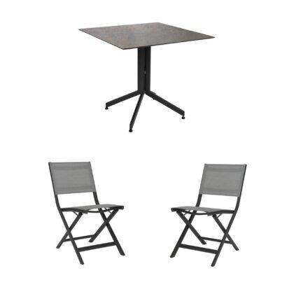 """Stern Bistro-Set mit Klappstuhl """"Nils"""" und Bistrotisch 80x80cm, Gestelle Aluminium anthrazit, Tischplatte HPL Smoky"""