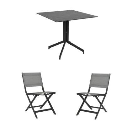 """Stern Bistro-Set mit Klappstuhl """"Nils"""" und Bistrotisch 80x80cm, Gestelle Aluminium anthrazit, Tischplatte HPL Zement"""