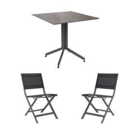 """Stern Bistro-Set mit Klappstuhl """"Nils"""" und Bistrotisch 80x80cm, Gestelle Aluminium graphit, Tischplatte HPL Smoky"""
